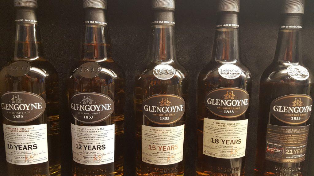Glengoynes core range; 10, 12 , 15, 18 och 21 yo